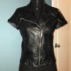 Zara Trf black pleather short sleeve jacket